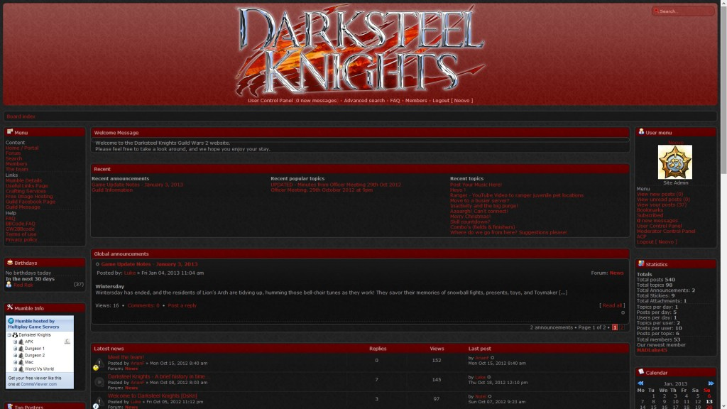 Darksteel Knights Website